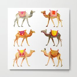 Cute watercolor camels Metal Print