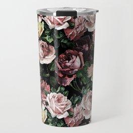 Vintage & Shabby chic - dark retro floral roses pattern Travel Mug