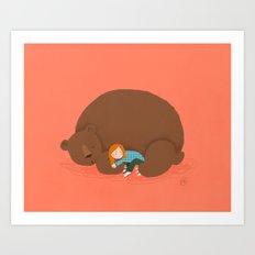 Bear and girl: sleeping Art Print