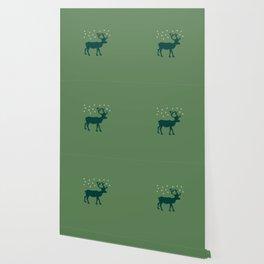 Green Reindeer with Snowflakes Wallpaper