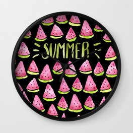 Watermelon means Summer - black background Wall Clock