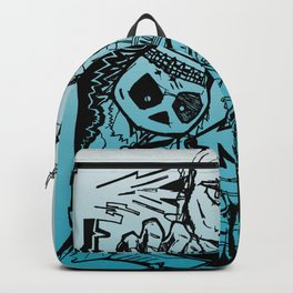 Subject illustration of cartoon characters in comic style. Backpack