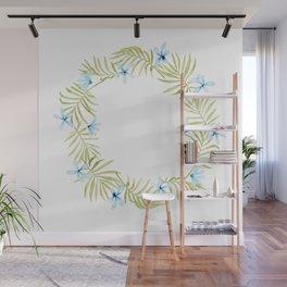 Hawaiian Watercolor Blue Plumeria Wreath Wall Mural