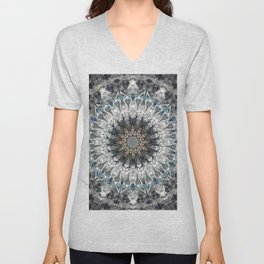 Gray, blue Mandala Unisex V-Neck