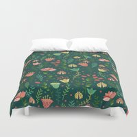 floral pattern Duvet Covers featuring Floral pattern by Julia Badeeva