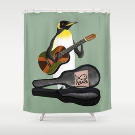 Penguin Busking Shower Curtain