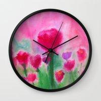 beth hoeckel Wall Clocks featuring Marjean's Garden, ©Beth Slater Winnick by Beth Slater Winnick