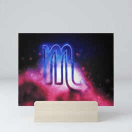 Scorpio zodiac sign, night sky,Horoscope Astrology background,Scorpio horoscope symbol, Pink and Blue Mini Art Print