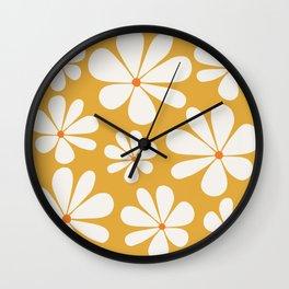Floral Daisy Pattern - Golden Yellow Wall Clock