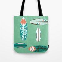 surfboard Tote Bags featuring Retro Hawaiian Surfboard by Vanillabeandesigns