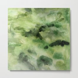 Green abstract water color nature inspired pattern Metal Print