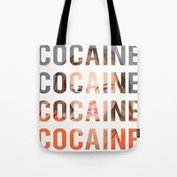 cocaine Tote Bags featuring LINDSAY LOHAN - COCAINE by Beauty Killer Art