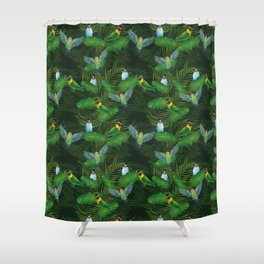 Lovebirds and tropical leafs Shower Curtain