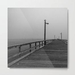 Fishing Dock B&W Metal Print