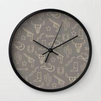 western Wall Clocks featuring WESTERN by Brukk