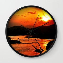 African River Sunset Wall Clock