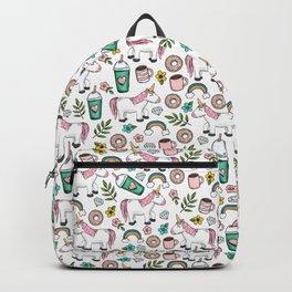 Unicorns and Rainbows, Frappuccino, Donuts, Flowers, Pink Unicorn, Girls Print, Girls' Decor Backpack