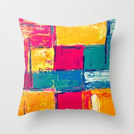Colorful Geometric Vivid Abstract Background Throw Pillow