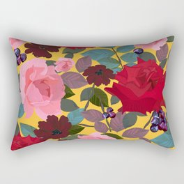 Vintage red pink roses and chocolate cosmos flower pattern yellow background Rectangular Pillow