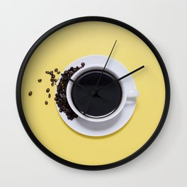 Black Cup of Coffee with Coffee Beans on Yellow Wall Clock