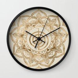 Cho Ku Rei - pastel gold lotus mandala Wall Clock