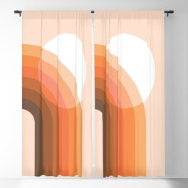 Mid Century Modern Geometric 78 in Brown Orange Shades (Sun and Rainbow abstraction) Blackout Curtain
