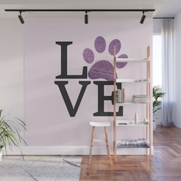 Love is a Four Letter Word - purple paw Wall Mural