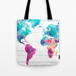 World Map Watercolor Paint on White Wood Tote Bag