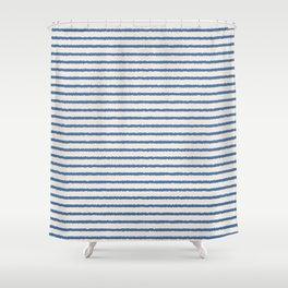 Texture - Sea Blue Stripes Shower Curtain