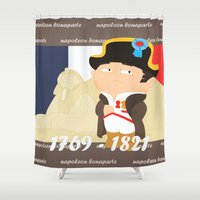 napoleon Shower Curtains featuring Napoleon Bonaparte by Alapapaju