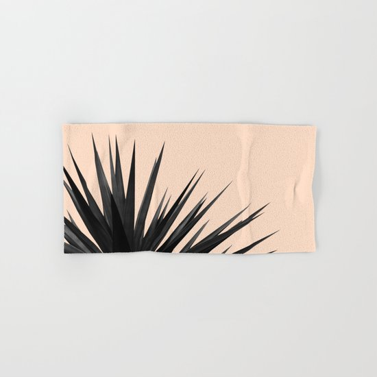 Black Palms on Pale Pink Hand & Bath Towel
