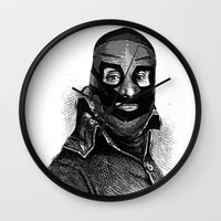 wrestling Wall Clocks featuring Wrestling mask 3 by DIVIDUS