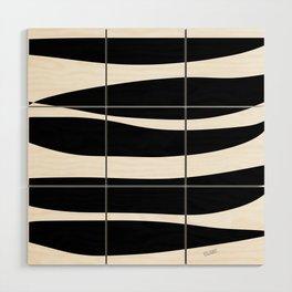 Irregular Stripes Black White Waves Art Design Wood Wall Art