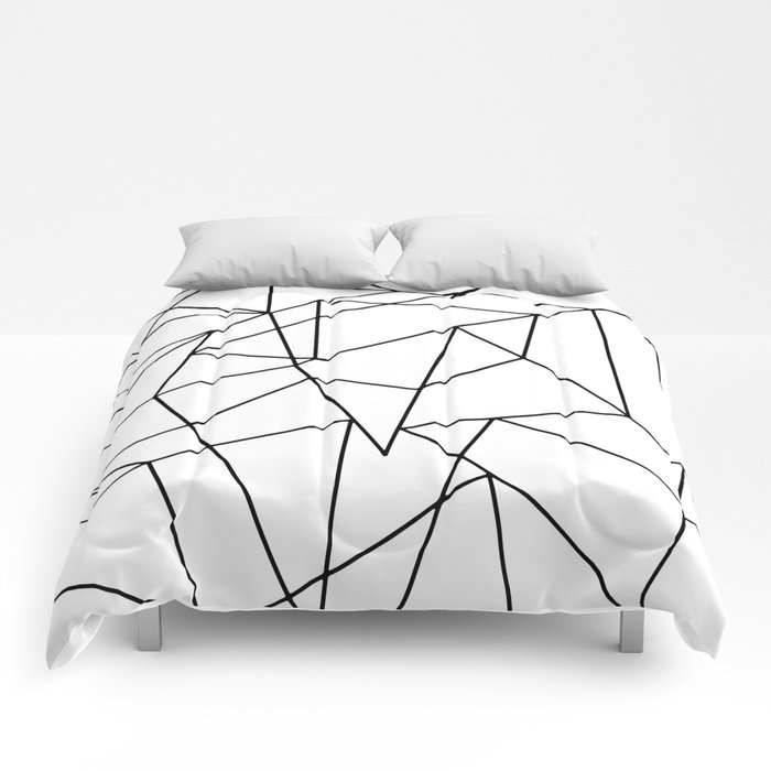 Simple Modern Black and White Geometric Pattern Comforters