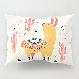 Yellow Llama Red Cacti Pillow Sham