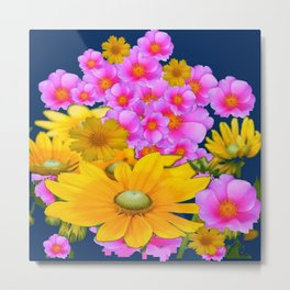 BLUE COLOR PINK-YELLOW FLOWER GARDEN ART Metal Print