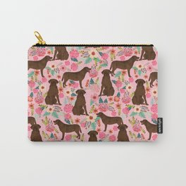 Chocolate Labrador Retriever dog floral gifts must haves chocolate lab lover Carry-All Pouch