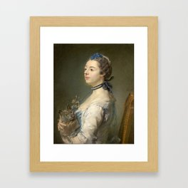 Woman and cat Painting by Jean-Baptiste Perronneau Framed Art Print