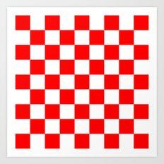 Checker (Red/White) Art Print