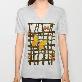 GOLDEN BUTTERFLIES THORN BRANCHES TRELLIS  PATTERN Unisex V-Neck
