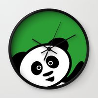 pocket Wall Clocks featuring Pocket panda by Jaxxx