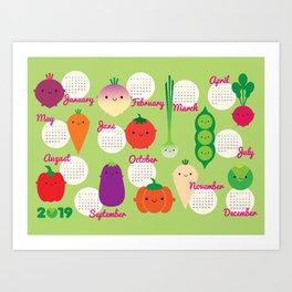 5 A Day Kawaii Vegetables 2019 Calendar Art Print