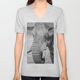 B&W Elephant 10 Unisex V-Neck