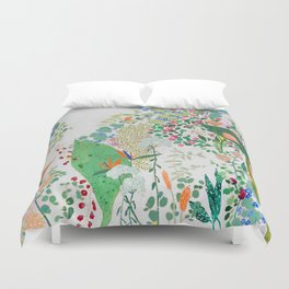 Painterly Floral Jungle on Pink and White Duvet Cover