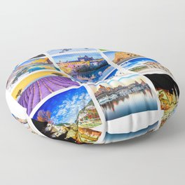 World travel collage Floor Pillow