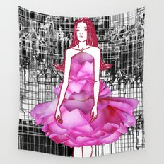 My rose dress fashion illustration concept. Wall Tapestry