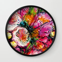 pink bouquet with two white buttercups Wall Clock