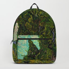 Cypresses Oil Painting Landscape Vincent van Gogh Backpack