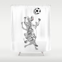 football Shower Curtains featuring Zebra Football by mailboxdisco
