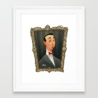 pee wee Framed Art Prints featuring Pee Wee Herman by Audrey Benjaminsen